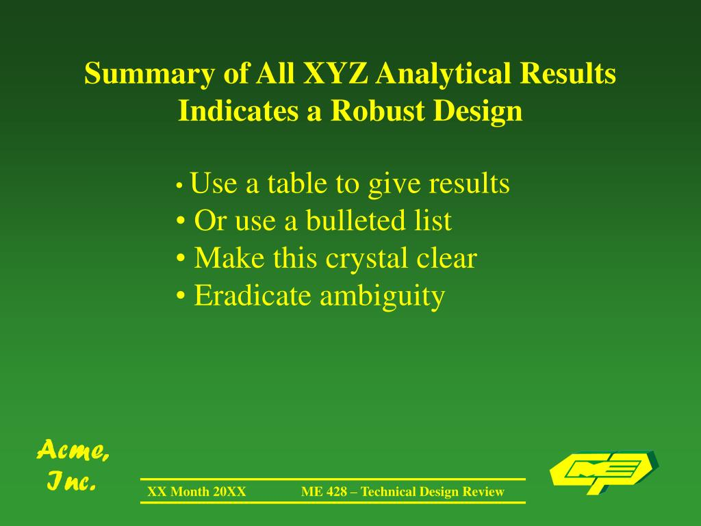 Summary of All XYZ Analytical Results Indicates a Robust Design