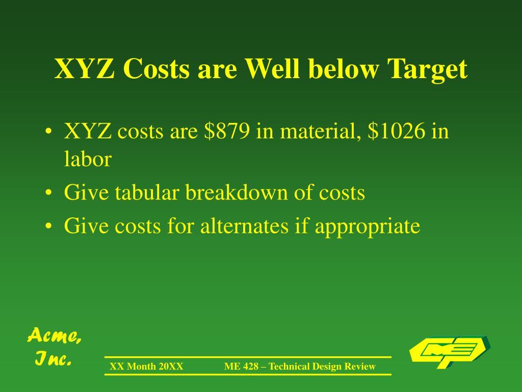 XYZ Costs are Well below Target