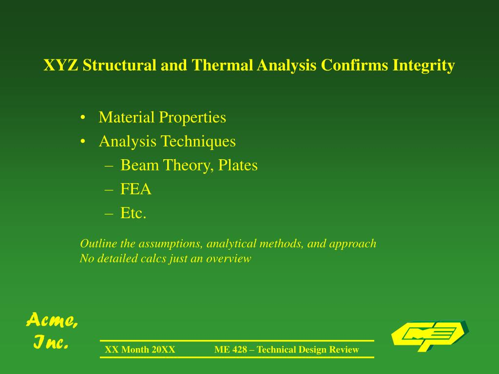XYZ Structural and Thermal Analysis Confirms Integrity