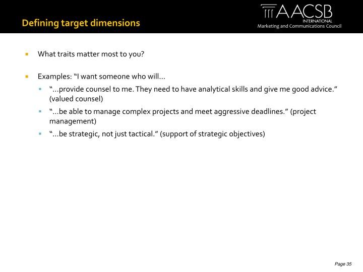 Defining target dimensions