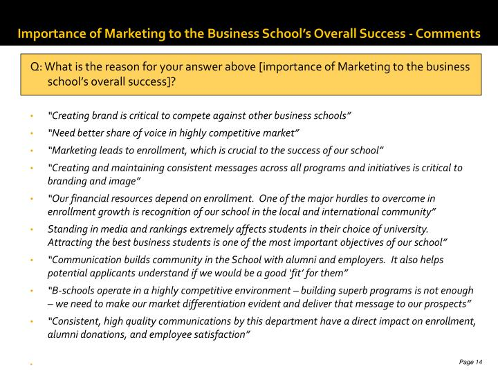 Importance of Marketing to the Business School's Overall Success - Comments