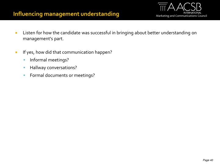 Influencing management understanding