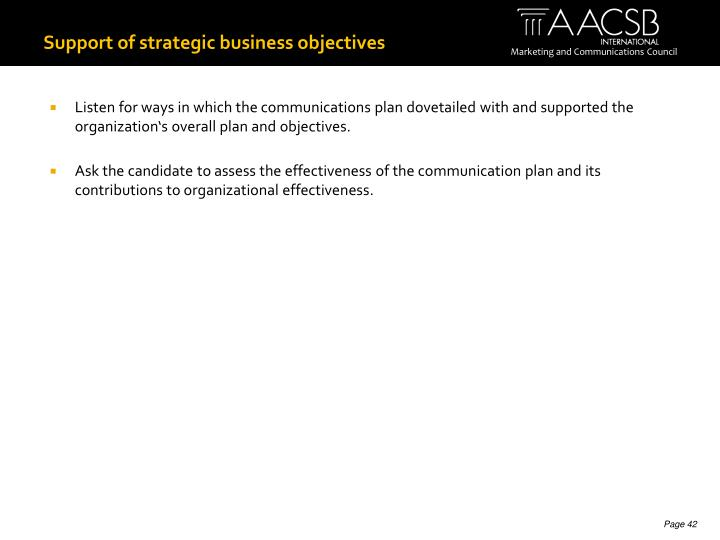 Support of strategic business objectives