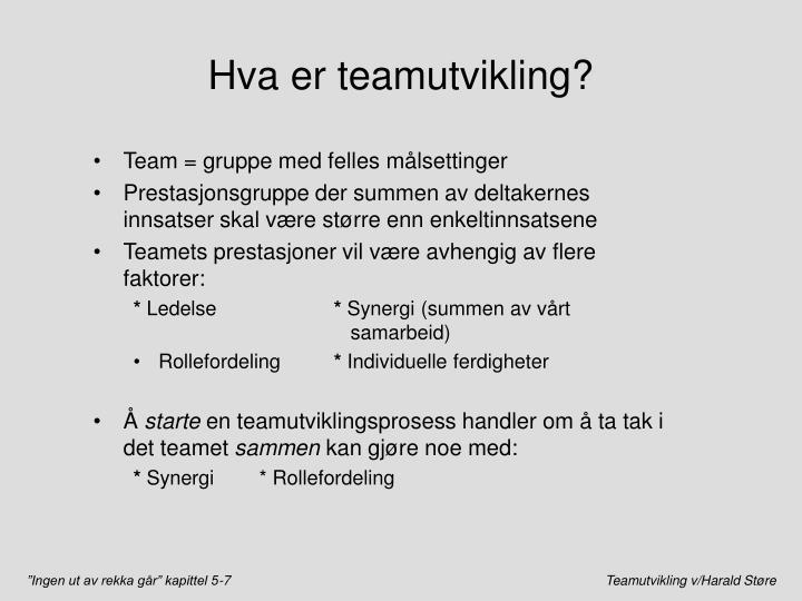 Hva er teamutvikling?