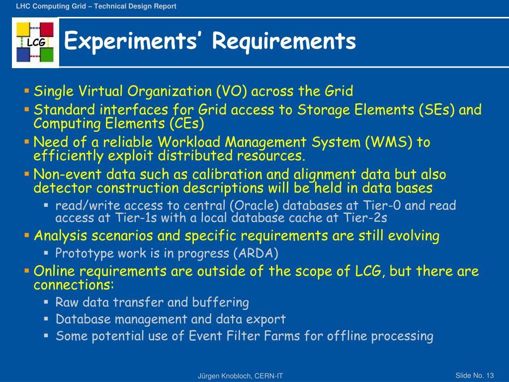 Experiments' Requirements