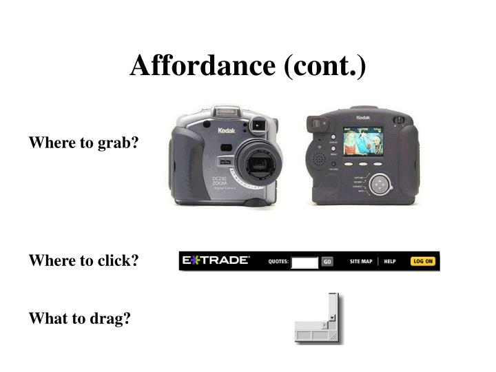 Affordance (cont.)