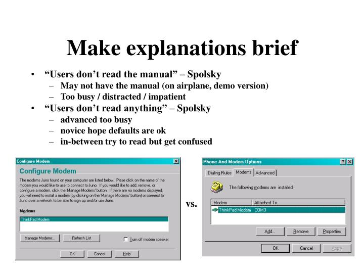 Make explanations brief