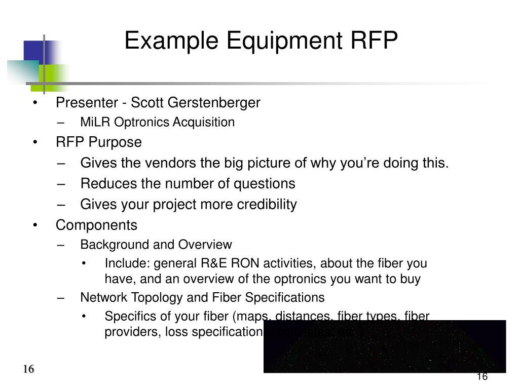 Example Equipment RFP
