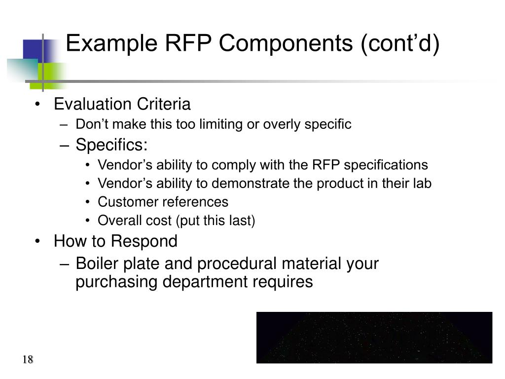 Example RFP Components (cont'd)