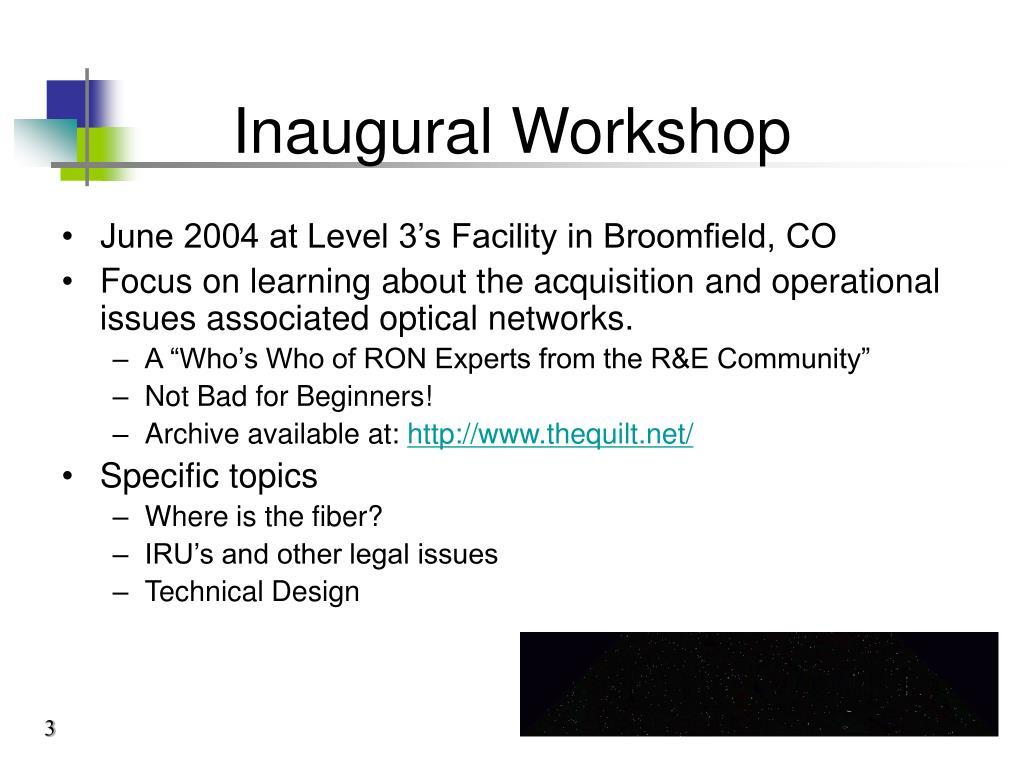 Inaugural Workshop