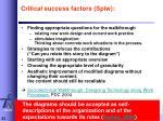 critical success factors spiw