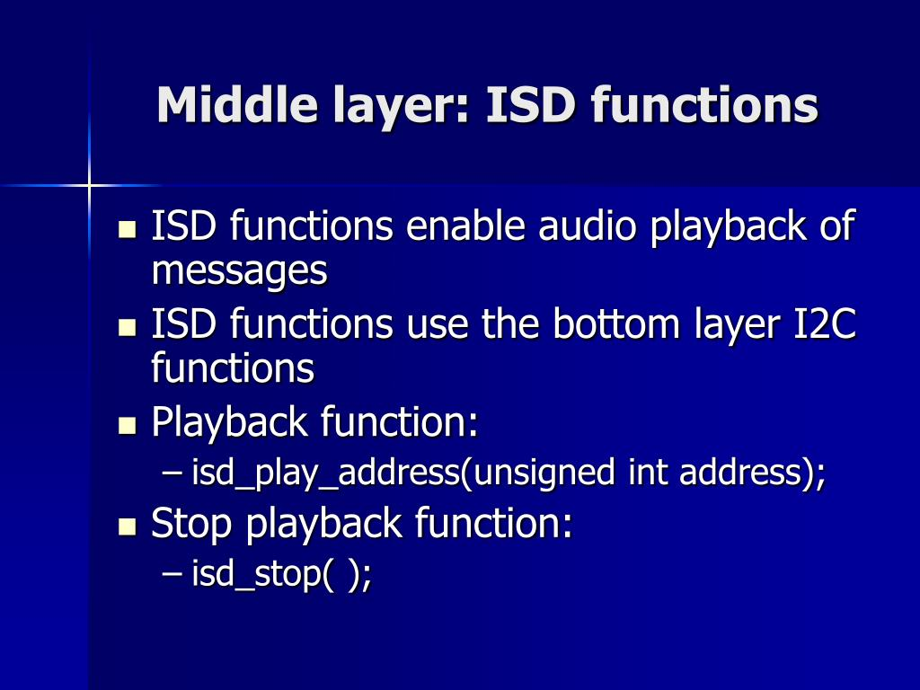 Middle layer: ISD functions