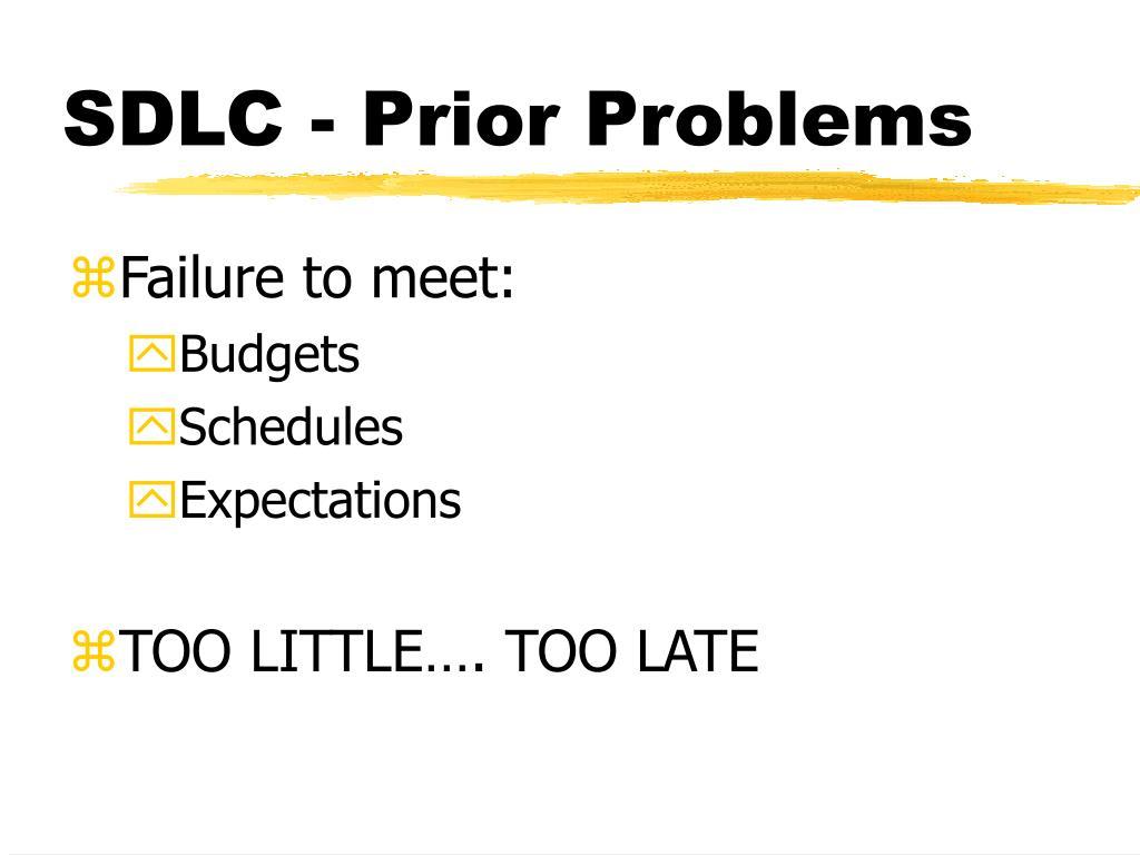 SDLC - Prior Problems