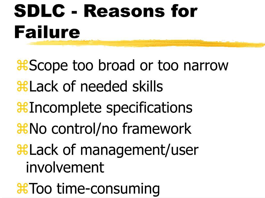 SDLC - Reasons for Failure