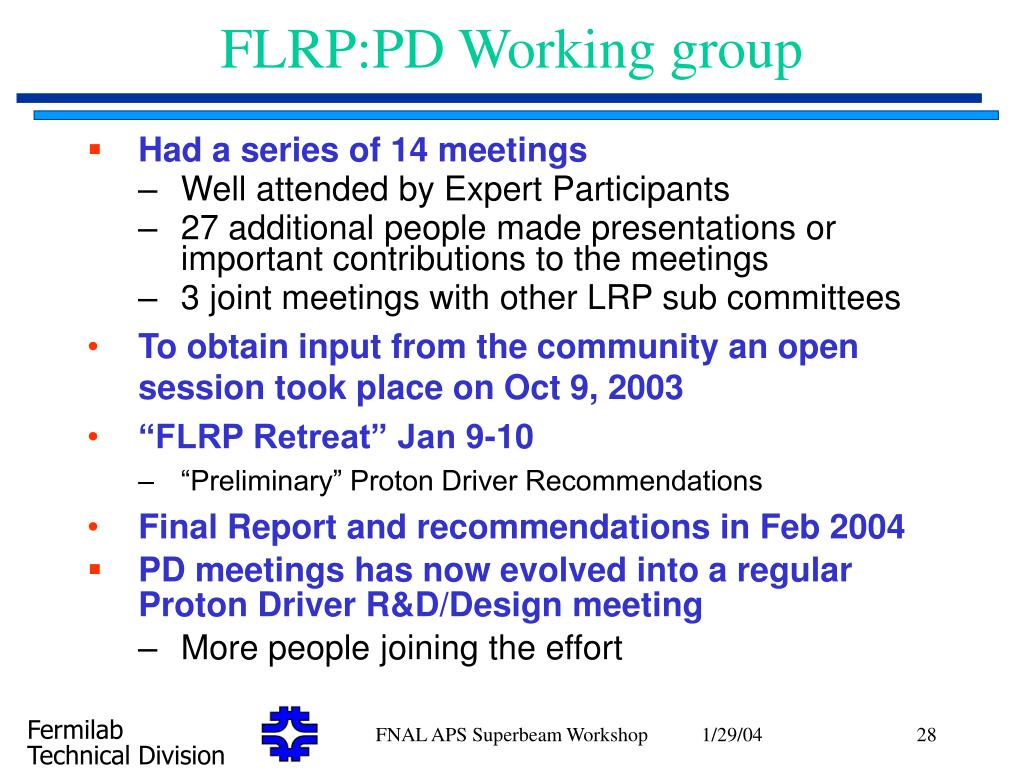 FLRP:PD Working group