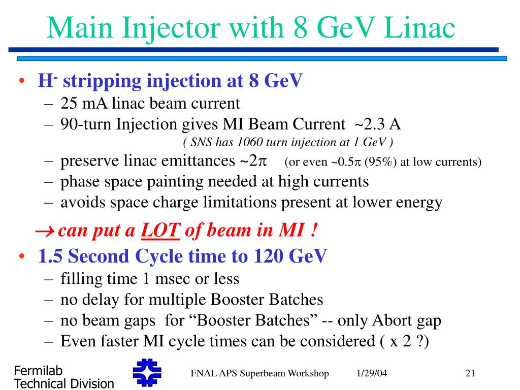 Main Injector with 8 GeV Linac