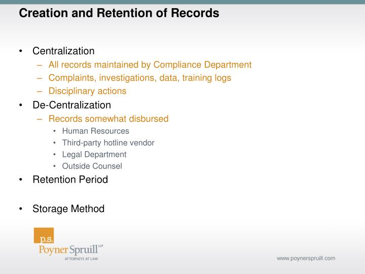 Creation and Retention of Records