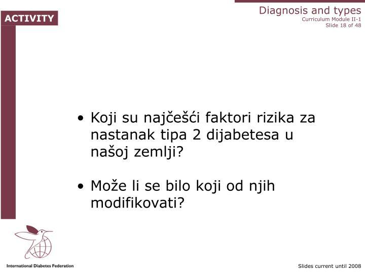 Koji su najčešći faktori rizika za nastanak tipa 2 dijabetesa u našoj zemlji