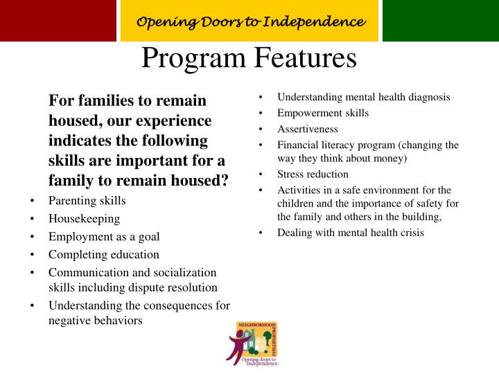 For families to remain housed, our experience indicates the following skills are important for a family to remain housed?