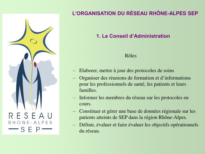 L'ORGANISATION DU RÉSEAU RHÔNE-ALPES SEP