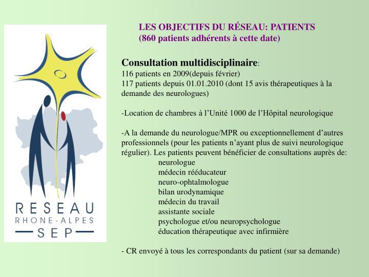 LES OBJECTIFS DU RÉSEAU: PATIENTS (860 patients adhérents à cette date)