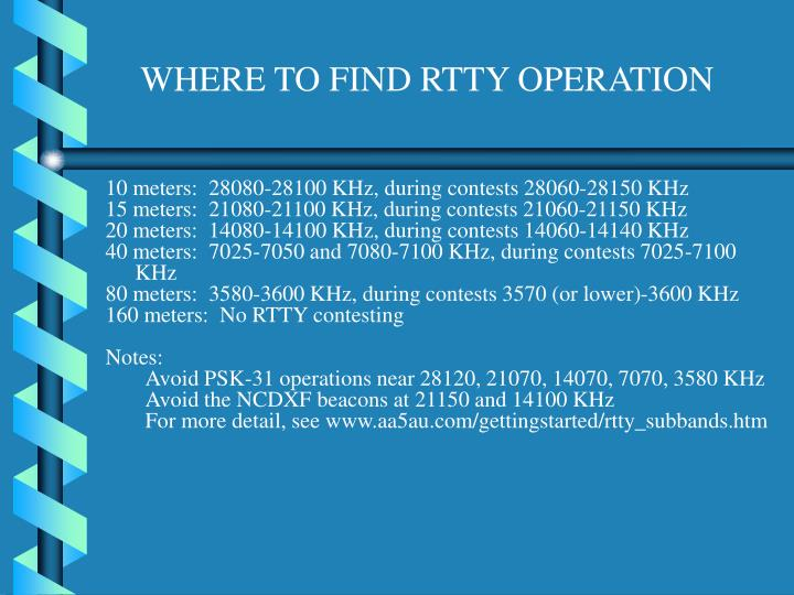 WHERE TO FIND RTTY OPERATION
