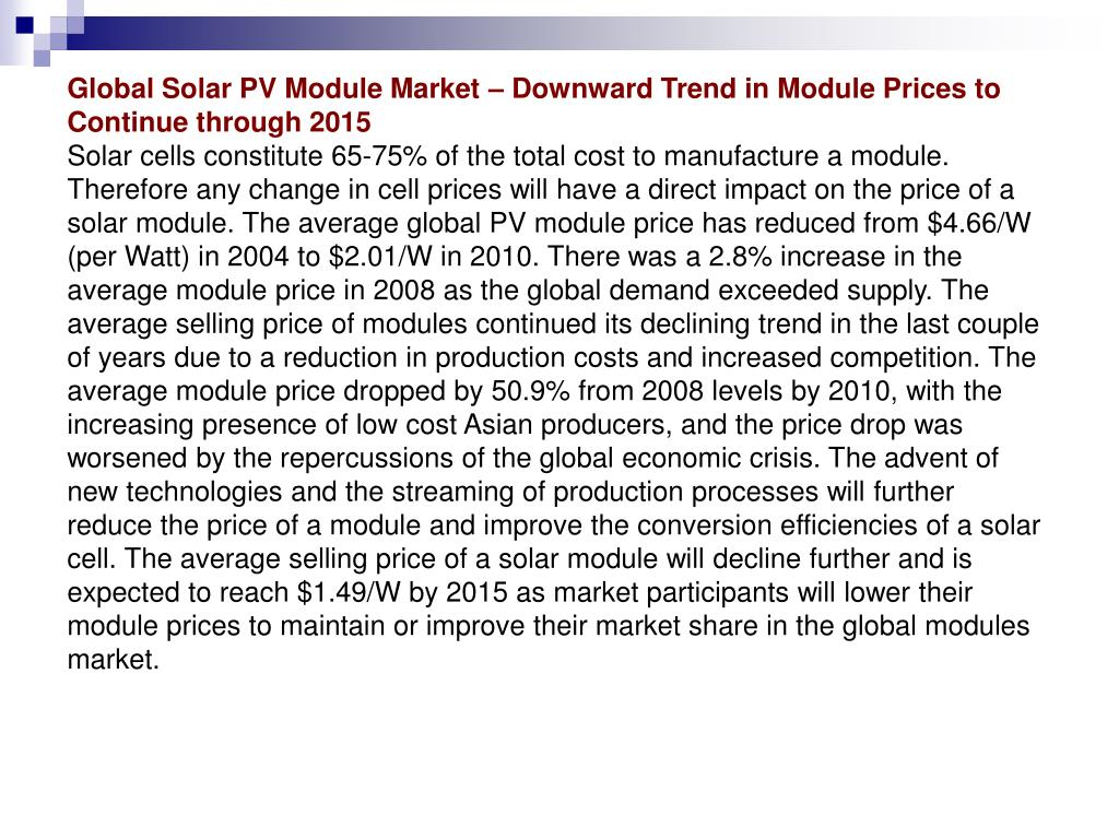 Global Solar PV Module Market – Downward Trend in Module Prices to Continue through 2015