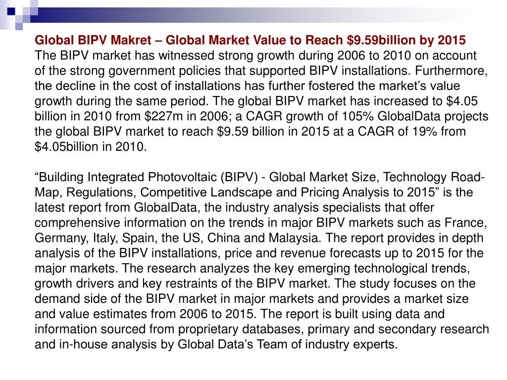 Global BIPV Makret – Global Market Value to Reach $9.59billion by 2015