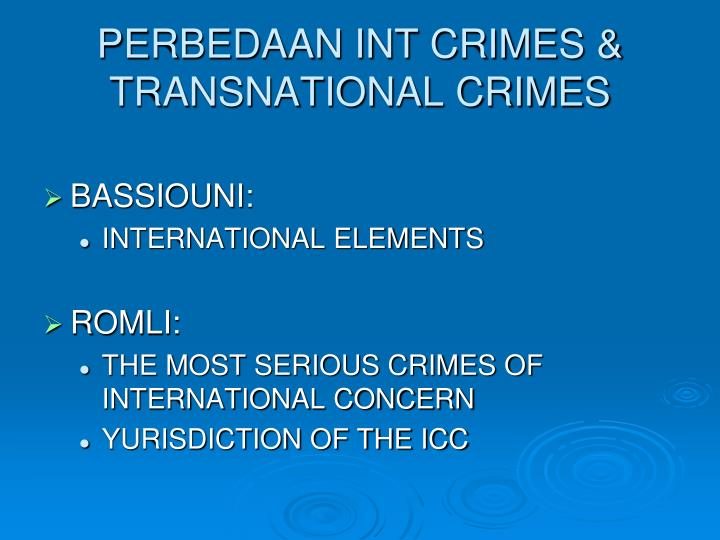 PERBEDAAN INT CRIMES & TRANSNATIONAL CRIMES