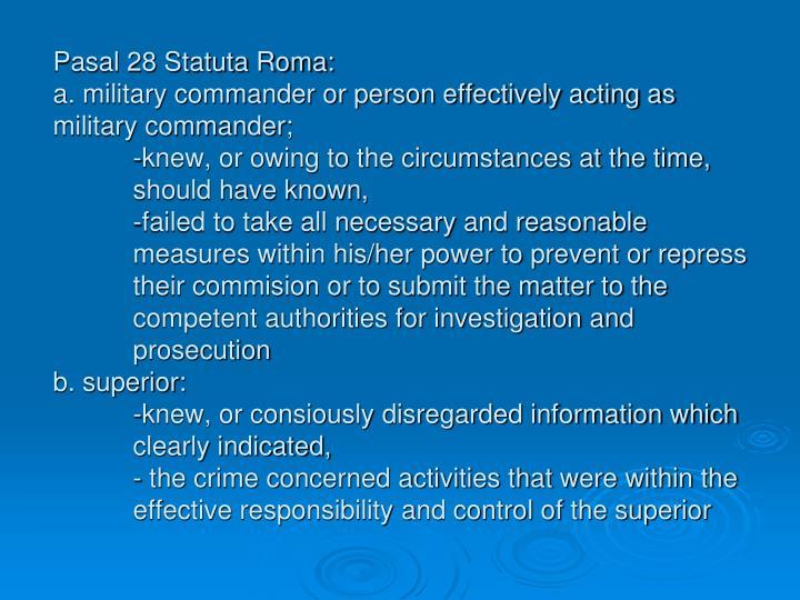 Pasal 28 Statuta Roma: