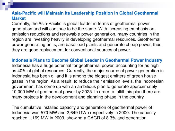Asia-Pacific will Maintain its Leadership Position in Global Geothermal Market