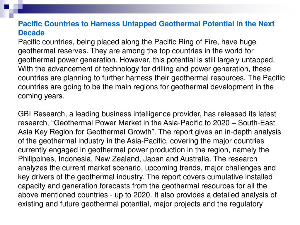 Pacific Countries to Harness Untapped Geothermal Potential in the Next Decade