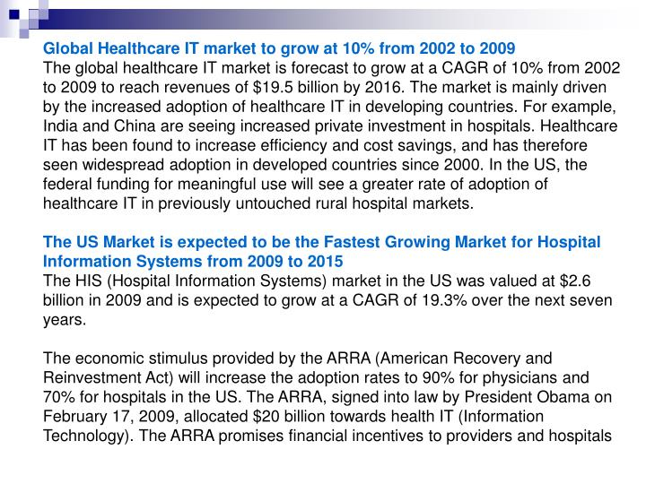 Global Healthcare IT market to grow at 10% from 2002 to 2009