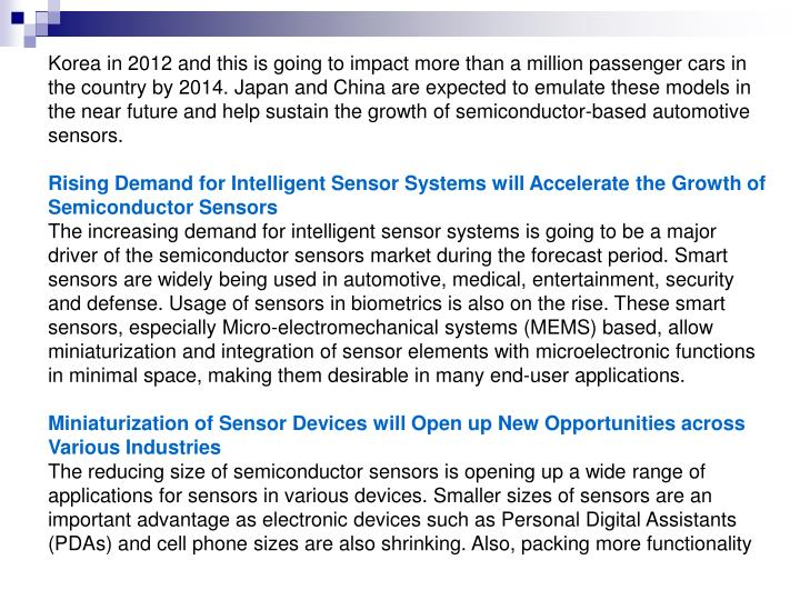 Korea in 2012 and this is going to impact more than a million passenger cars in the country by 2014....