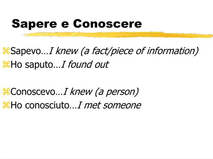 Sapere e Conoscere