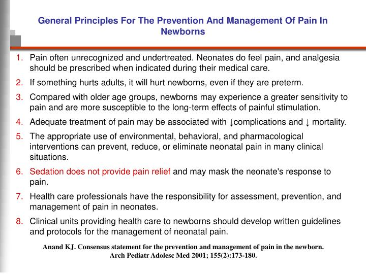 General Principles For The Prevention And Management Of Pain In Newborns