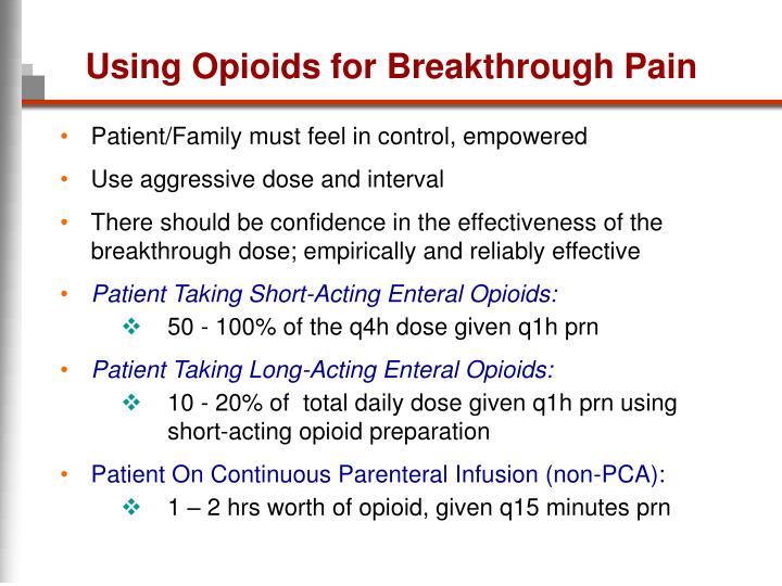 Using Opioids for Breakthrough Pain