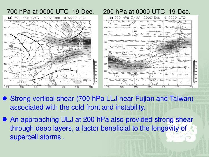 700 hPa at 0000 UTC  19 Dec.