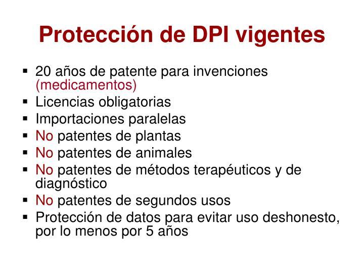 Protección de DPI vigentes