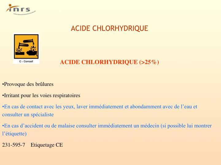 Ppt risques et r glementations li s l utilisation des - Acide chlorhydrique utilisation ...