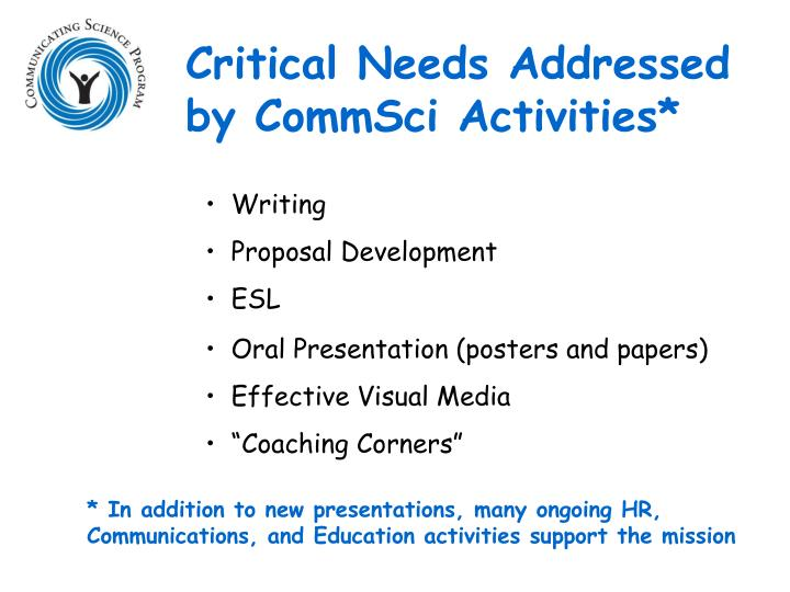 Critical Needs Addressed by CommSci Activities*