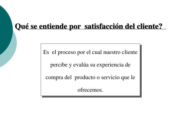 Qué se entiende por  satisfacción del cliente?