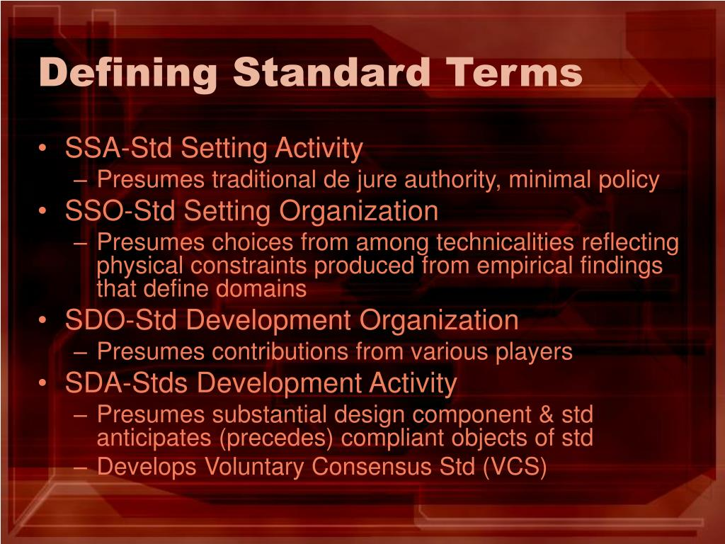 Defining Standard Terms