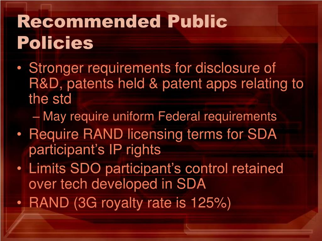 Recommended Public Policies