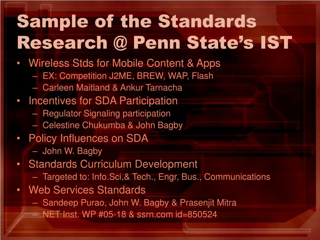 Sample of the Standards Research @ Penn State's IST