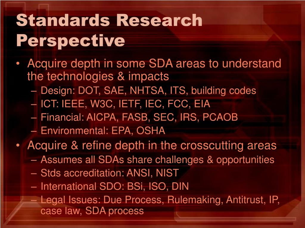 Standards Research Perspective