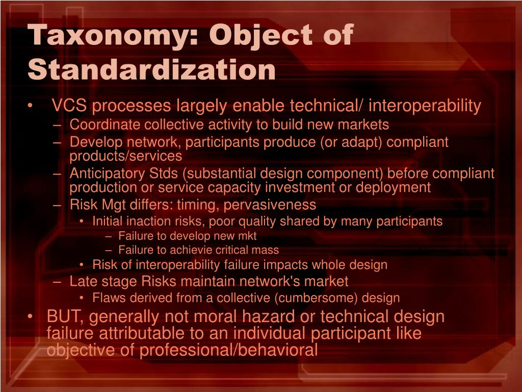 Taxonomy: Object of Standardization