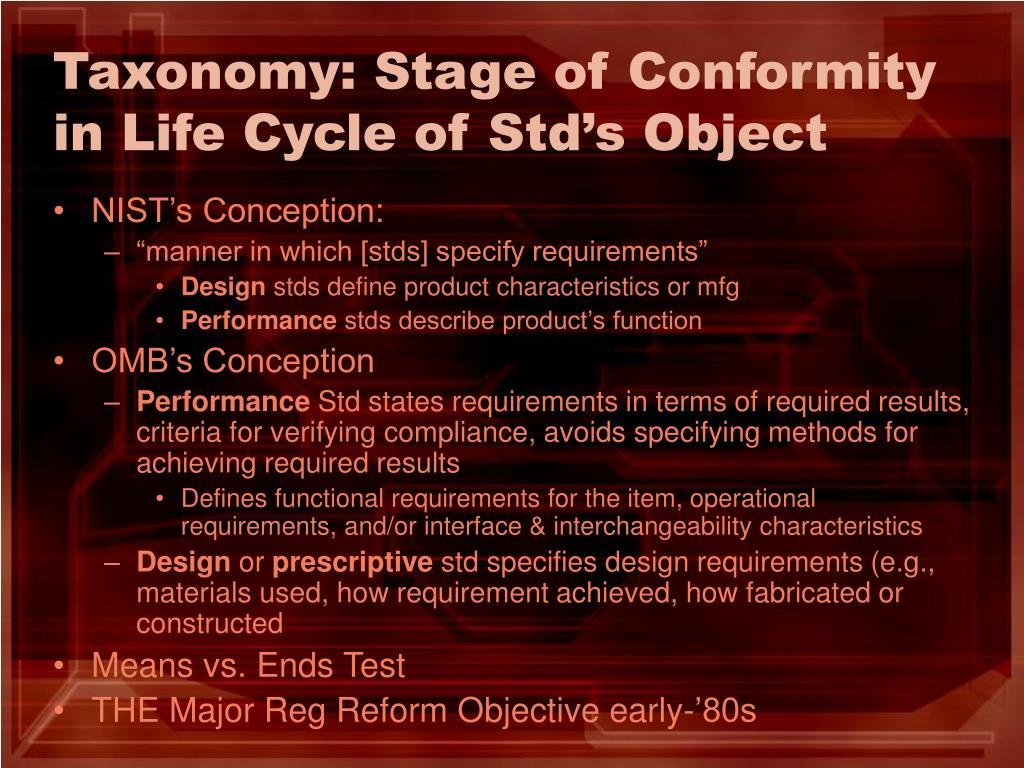 Taxonomy: Stage of Conformity in Life Cycle of Std's Object
