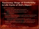 taxonomy stage of conformity in life cycle of std s object