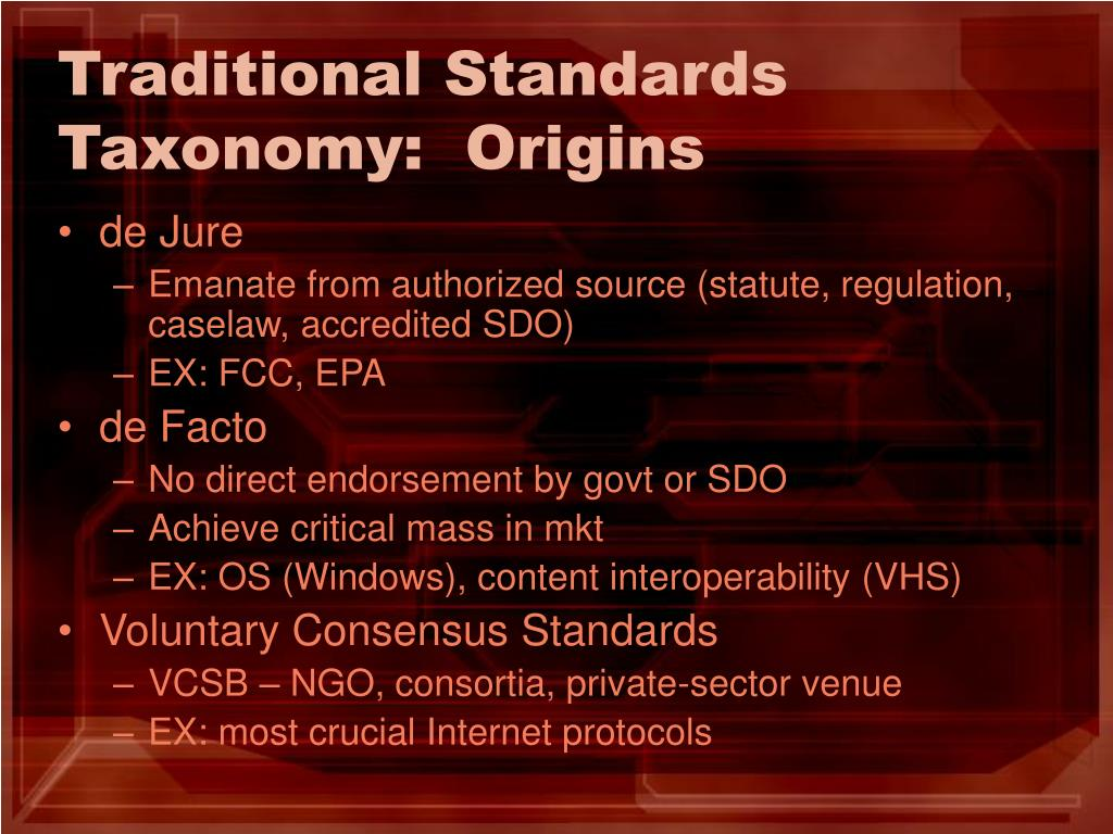Traditional Standards Taxonomy:  Origins